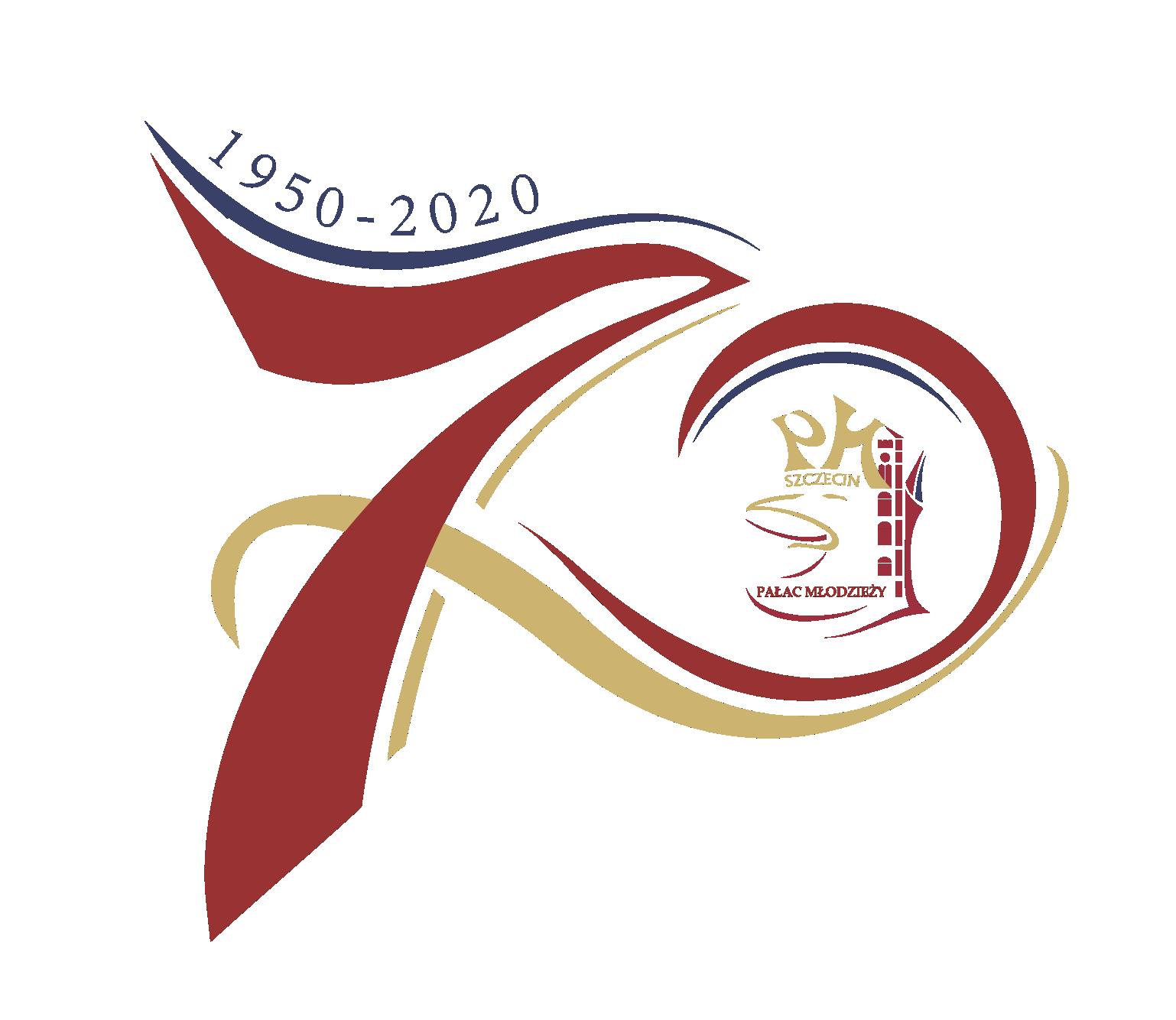 Jubileuszowe logo Pałacu Młodzieży z okazji siedemdziesięciolecia. Logo w kolorze bordowo-złotych